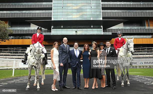 Rachael Finch Ryan Fitzgerald Michael Wipfli Kyly Clarke RickiLee Coulter Jodi Anasta and Braith Anasta pose at the launch of the 2014 Sydney Spring...