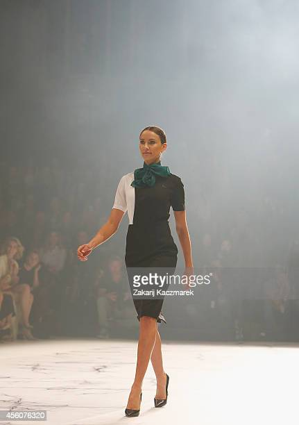 Rachael Finch walks the runway at the Camilla and Marc St George show during MercedesBenz Fashion Festival Sydney at Sydney Town Hall on September 25...