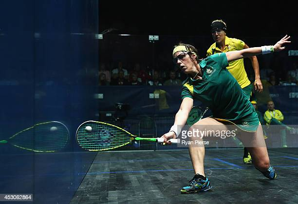 Rachael Grinham of Australia plays the ball during the Squash Mixed Doubles Semi Final between Australia and Australia at Scotstoun Sports Campus...