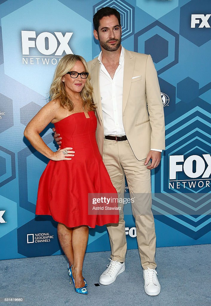 Rachael Harris and Tom Ellis attend FOX 2016 Upfront Arrivals at Wollman Rink, Central Park on May 16, 2016 in New York City.