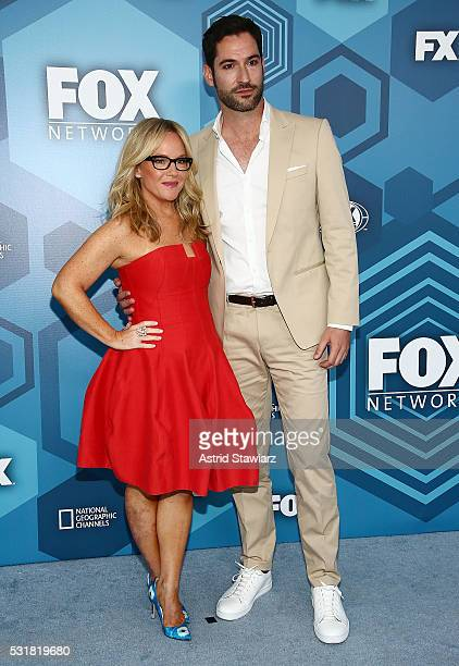 Rachael Harris and Tom Ellis attend FOX 2016 Upfront Arrivals at Wollman Rink Central Park on May 16 2016 in New York City