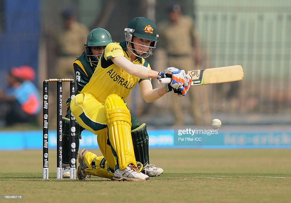 Rachael Haynes of Australia bats during the second match of ICC Womens World Cup between Australia and Pakistan, played at the Barabati stadium on February 1, 2013 in Cuttack, India.