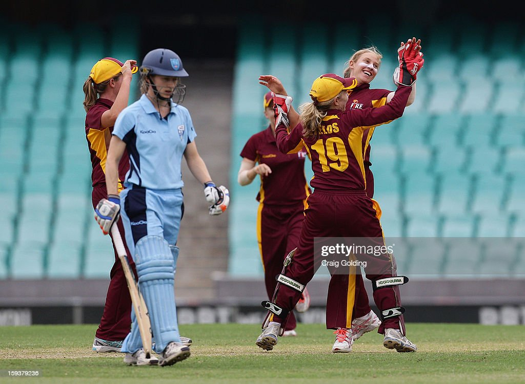 Rachael Haynes of the breakers is caught and bowled by Delissa Kimmince during the WNCL Final match between the NSW Breakers and the Queensland Fire at the Sydney Cricket Ground on January 13, 2013 in Sydney, Australia.