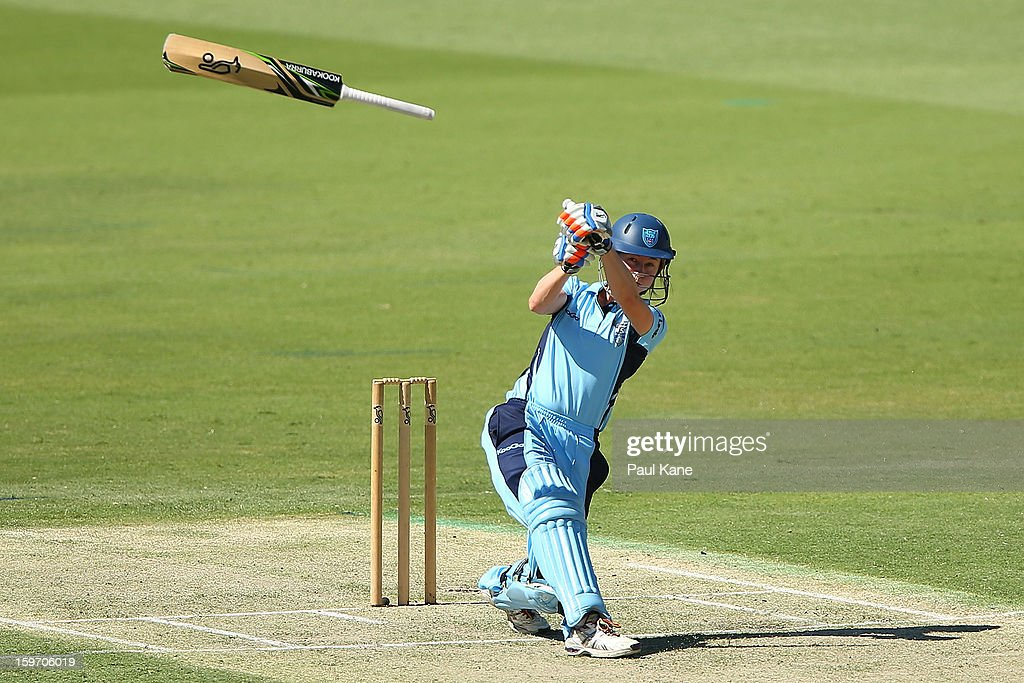 <a gi-track='captionPersonalityLinkClicked' href=/galleries/search?phrase=Rachael+Haynes&family=editorial&specificpeople=4123711 ng-click='$event.stopPropagation()'>Rachael Haynes</a> of the Breakers loses her grip on the bat during the women's Twenty20 final match between the NSW Breakers and the Western Australia Fury at WACA on January 19, 2013 in Perth, Australia.