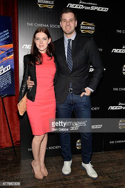 Rachael Kun and Olympic athlete Tim Morehouse attend The Cinema Society Bushmill's screening of DreamWorks Pictures' 'Need for Speed' at the Tribeca...