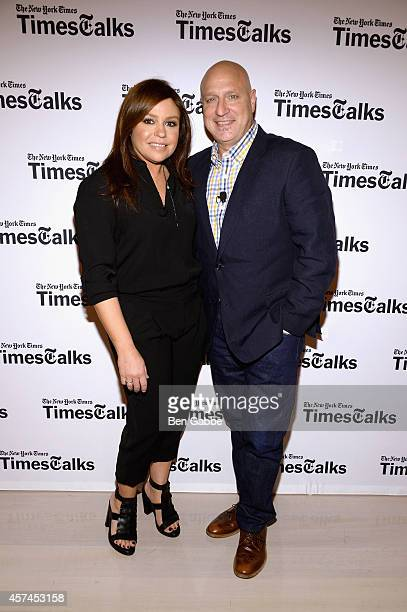 Rachael Ray and Tom Colicchio attend TimesTalk Tom Colicchio Rachael Ray during the Food Network New York City Wine Food Festival Presented By FOOD...