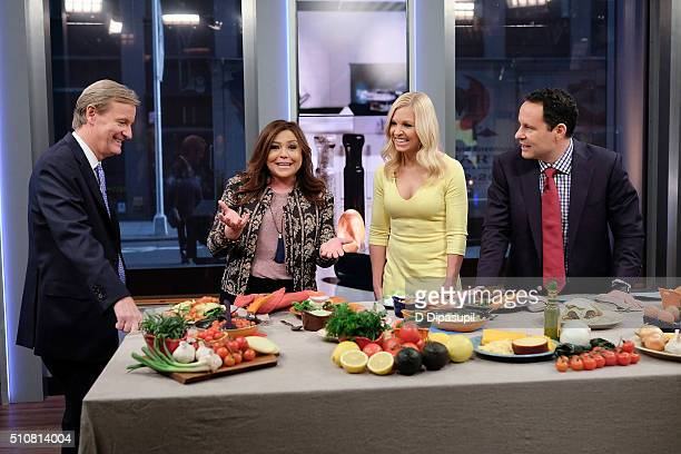 Rachael Ray is interviewed by Steve Doocy Anna Kooiman and Brian Kilmeade during Fox Friends at FOX Studios on February 17 2016 in New York City