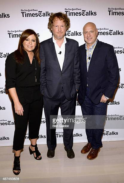 Rachael Ray Jeff Gordinier and Tom Colicchio attend TimesTalk Tom Colicchio Rachael Ray during the Food Network New York City Wine Food Festival...