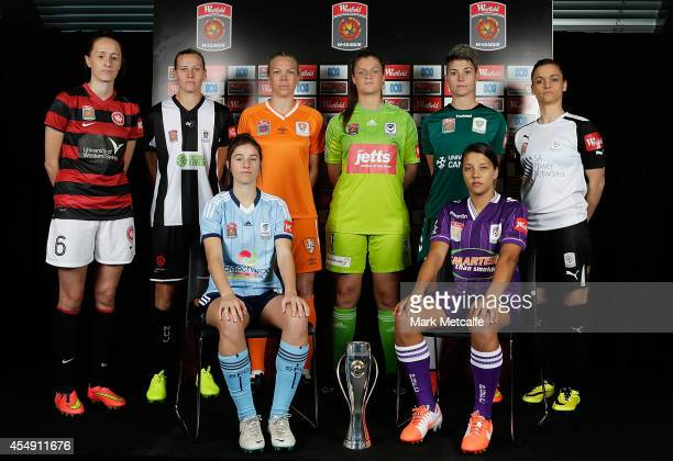 Rachael Soutar of Western Sydney Wanderers Emily van Egmond of Newcastle Jets Amy Harrison of Sydney FC Kim Carroll of Brisbane Roar Brianna Davey of...
