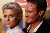 Rachael Taylor and Josh Lawson arrive at the 'Any Questions For Ben' Sydney premiere at the St George OpenAir Cinema on February 3 2012 in Sydney...