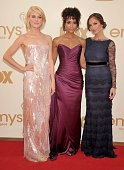 Rachael Taylor Annie Illonzeh and Minka Kelly of 'Charlie's Angels' arrive at the Academy of Television Arts Sciences 63rd Primetime Emmy Awards at...
