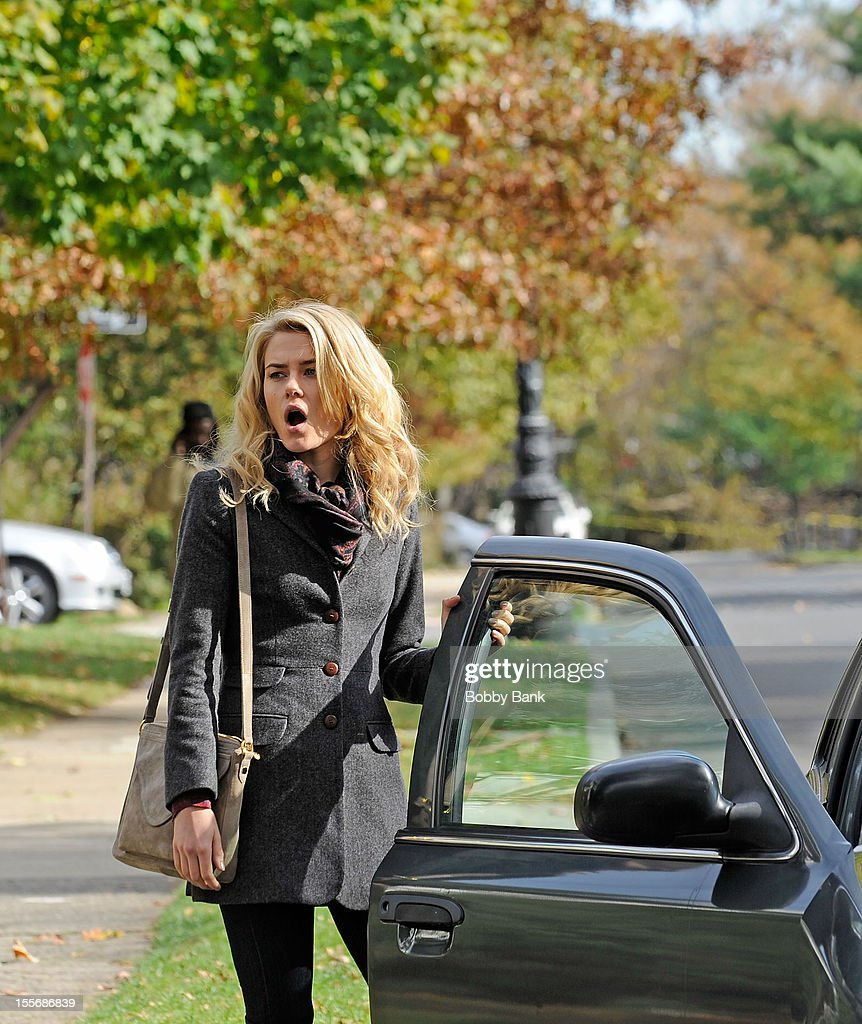 <a gi-track='captionPersonalityLinkClicked' href=/galleries/search?phrase=Rachael+Taylor+-+Actress&family=editorial&specificpeople=544685 ng-click='$event.stopPropagation()'>Rachael Taylor</a> filming on location for '666 Park Avenue' on November 6, 2012 in the Brooklyn borough of New York City.