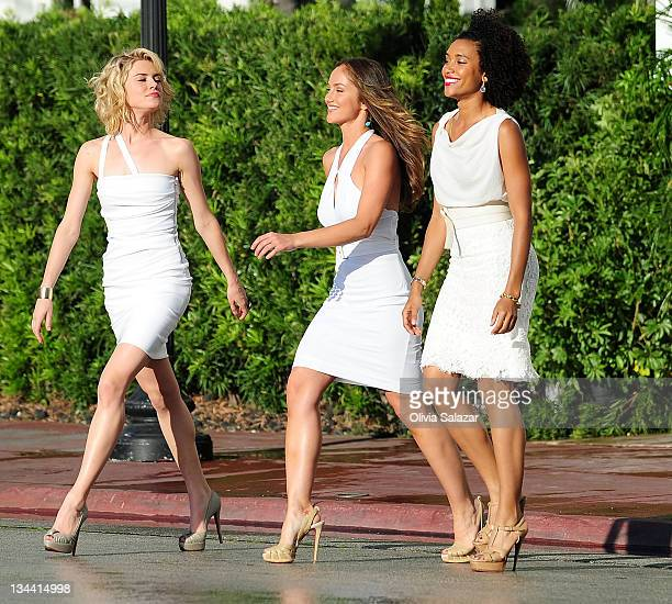 Rachael TaylorMinka Kelly and Annie Ilonzeh on the set of 'Charlies Angels' TV series on March 16 2011 in Miami Beach Florida