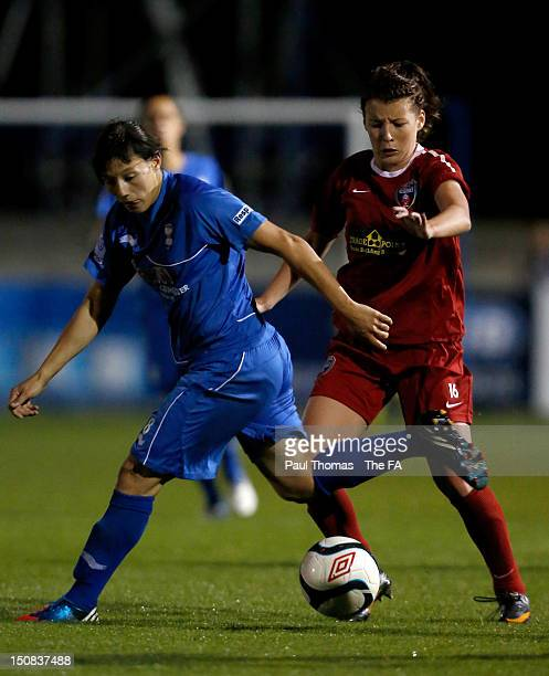 Rachal Williams of Birmingham City in action with Angharad James of Bristol during the FA WSL match between Birmingham City Ladies FC v Bristol...