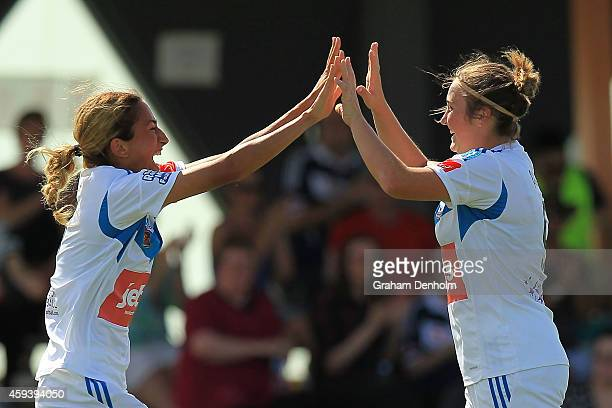 Racheal Quigley of the Victory celebrates her goal during the round 11 WLeague match between Melbourne Victory and Newcastle Jets at Kingston Heath...