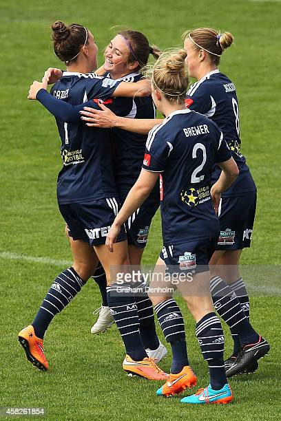 Racheal Quigley of the Victory celebrates her goal with her teammates during the round eight WLeague match between Melbourne and Perth at Lakeside...