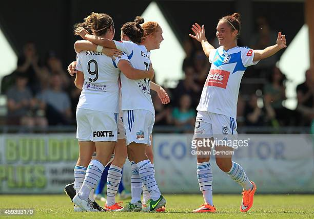Racheal Quigley of the Victory celebrates her goal with her teammates during the round 11 WLeague match between Melbourne Victory and Newcastle Jets...