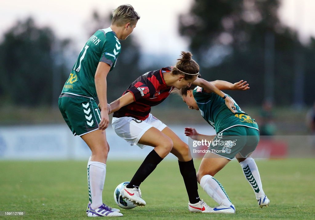 Racheal Soutar of the Wanderers competes with the Canberra defence during the round 11 W-League match between Canberra United and the Western Sydney Wanderers at McKellar Park on January 8, 2013 in Canberra, Australia.