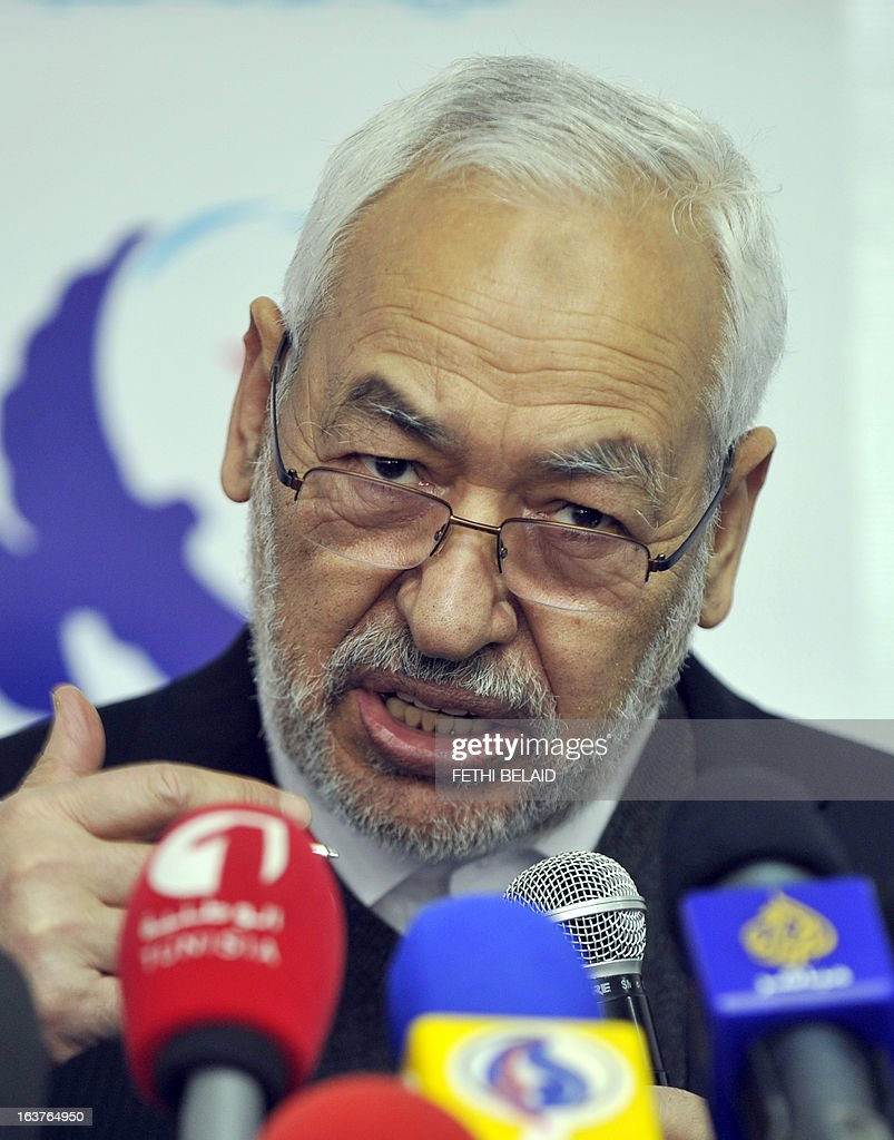 Rached Ghannouchi, leader of the Islamist Ennahda party that heads the new Tunisian government elected in the midst of a political and economic crisis, speaks during a press conference in Tunis on March 15, 2013. AFP PHOTO / FETHI BELAID