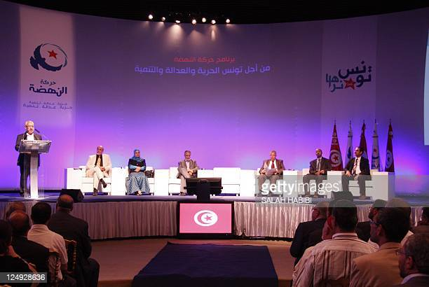 Rached Ghannouchi whose Islamist movement Ennahda is considered Tunisia's most popular party presents his program in Tunis on September 14 2011...