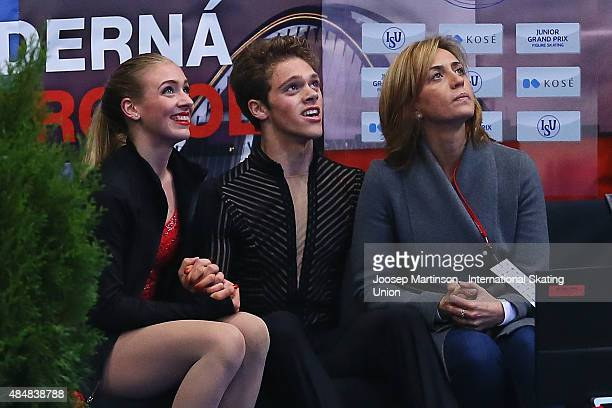 Rachel and Michael Parsons of the United States look on after Ice Dance Free Dance Program on August 22 2015 in Bratislava Slovakia