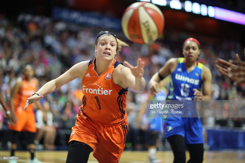 Rachel Banham #1 of the Connecticut Sun challenges for a rebound during the Connecticut Sun Vs Dallas Wings, WNBA regular season game at Mohegan Sun Arena on August 12th, 2017 in Uncasville, Connecticut.