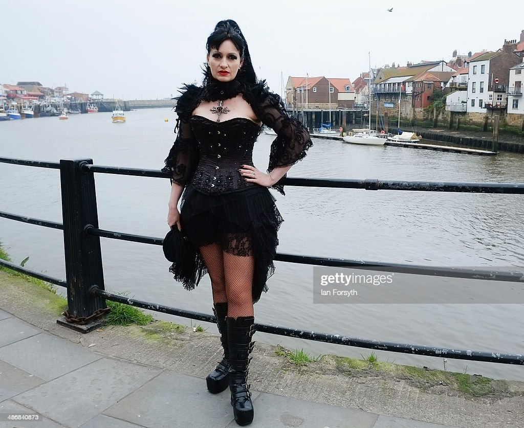 Rachel Barratt from Stockton visits the Goth weekend on April 26 2014 in Whitby England The Whitby Goth weekend began in 1994 and happens twice each...