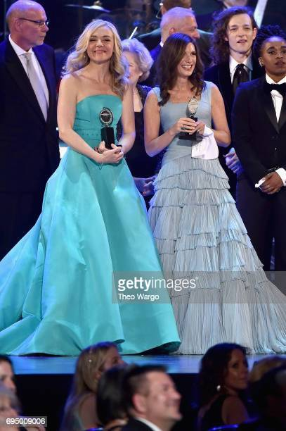"""Rachel Bay Jones and Stacey Mindich accept the award for Best Musical for 'Dear Evan Hansen"""" onstage during the 2017 Tony Awards at Radio City Music..."""