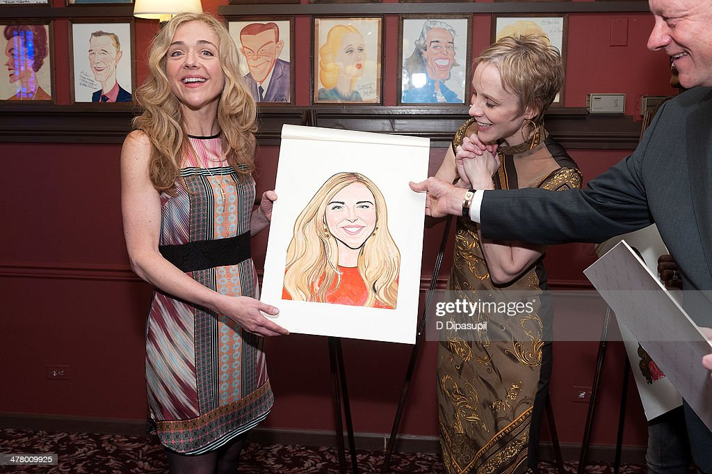 Rachel Bay Jones Charlotte d'Amboise and Max Klimavicius attend the Caricature Unveiling for Broadway's 'Pippin' at Sardi's on March 11 2014 in New...