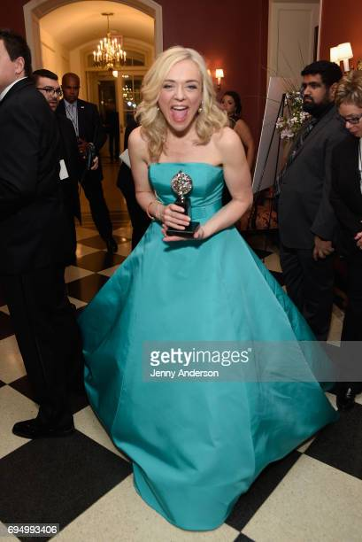 """Rachel Bay Jones winner of the award for Best Performance by an Actress in Featured Role a Musical for """"Dear Evan Hansen"""" poses in the press room..."""