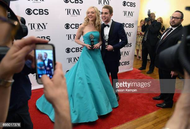 Rachel Bay Jones winner of the award for Featured Actress in a Musical and Ben Platt winner of the award for Best Actor in a Musical for 'Dear Evan...