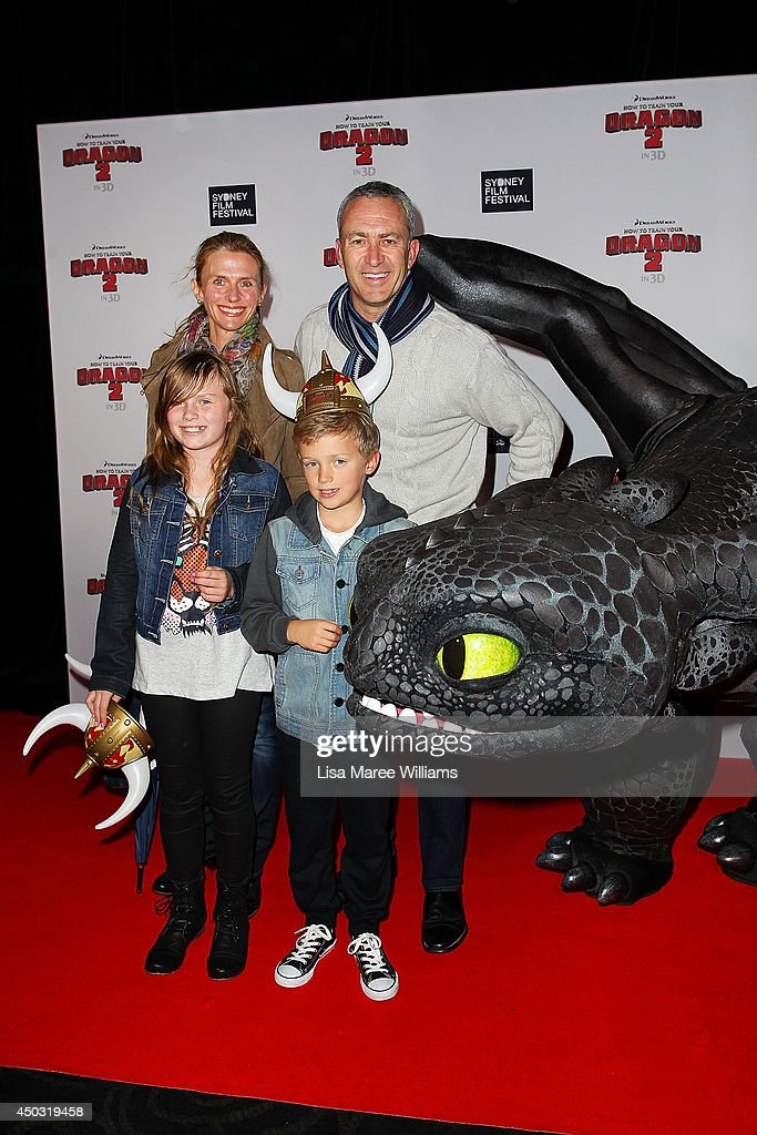 Rachel Beretta, Mark Beretta and family attend the 'How To Train Your Dragon 2' Australian premiere at Event Cinemas George Street on June 9, 2014 in Sydney, Australia.