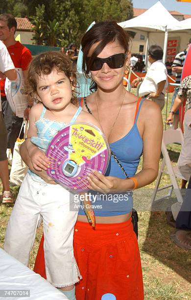 Rachel Bilson and sister Hattie with Tamagotchi Connection Virtual Pet at the Wadsworth Theater in Los Angeles California