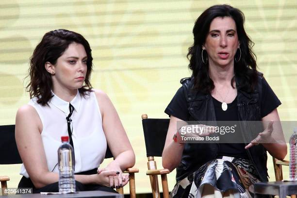 Rachel Bloom and Aline Brosh McKenna attend the 2017 Summer TCA Tour CW Panels at The Beverly Hilton Hotel on August 2 2017 in Beverly Hills...