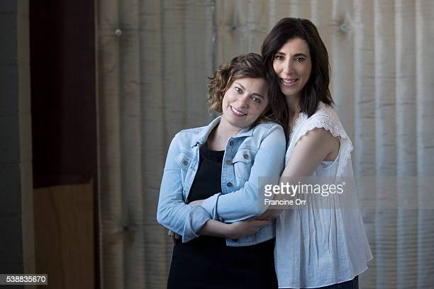 Rachel Bloom and Aline Brosh McKenna creators of 'Crazy ExGirlfriend' are photographed for Los Angeles Times on April 18 2016 in Los Angeles...