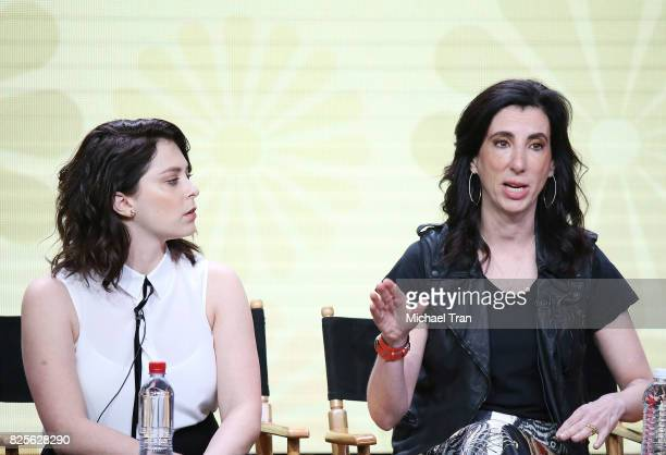 Rachel Bloom and Aline Brosh McKenna of 'Crazy ExGirlfriend' speak onstage during the 2017 Summer TCA Tour CW Panels held at The Beverly Hilton Hotel...