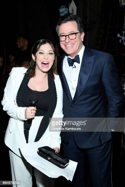 Rachel Bloom and Stephen Colbert attend the 2017 Tony Awards at Radio City Music Hall on June 11 2017 in New York City