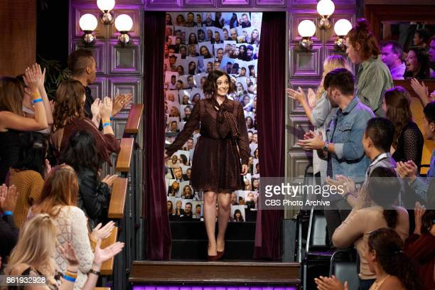 Rachel Bloom greets the audience during 'The Late Late Show with James Corden' Wednesday October 11 2017 On The CBS Television Network