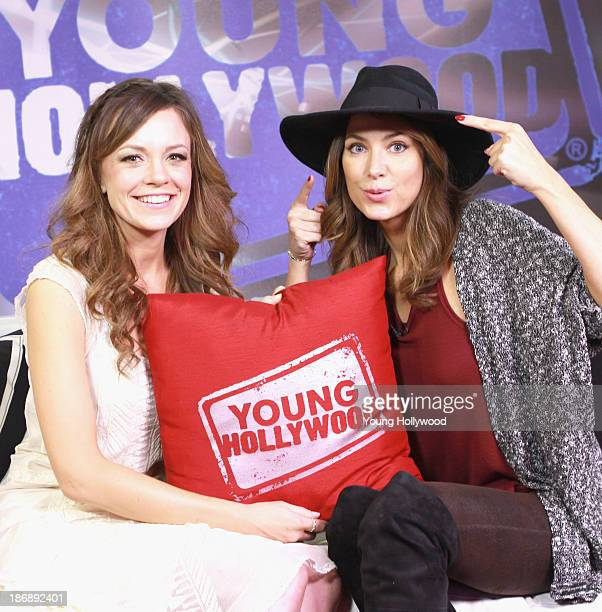 Rachel Boston and host Nikki Novak at the Young Hollywood Studio on October 31 2013 in Los Angeles California