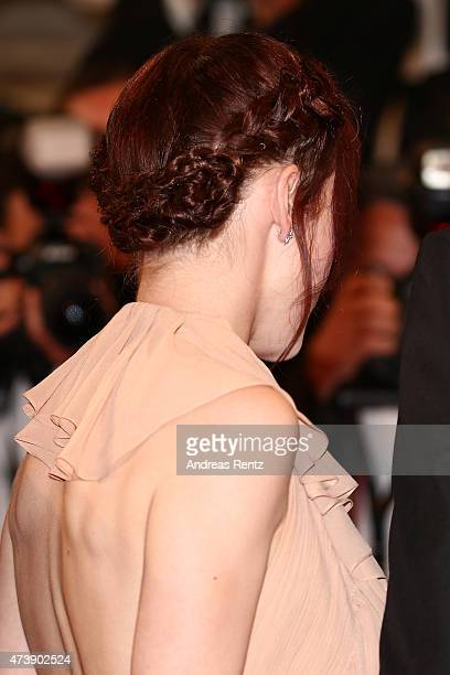 Rachel Brosnahan hair detail attends the Premiere of 'Louder Than Bombs' during the 68th annual Cannes Film Festival on May 18 2015 in Cannes France