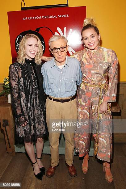 Rachel Brosnahan Woody Allen and Miley Cyrus attend the world premiere of 'Crisis in Six Scenes' at the Crosby Street Hotel on September 15 2016 in...