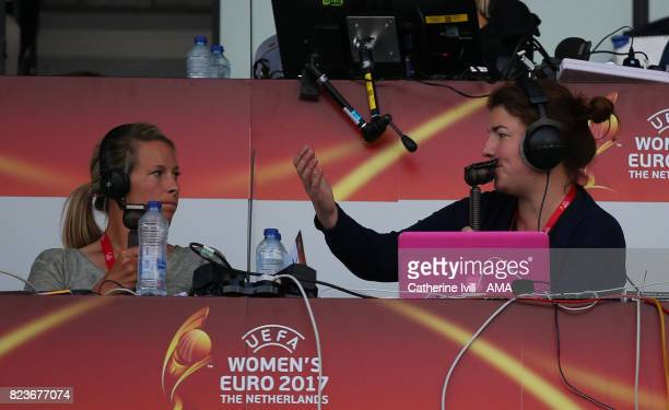 Rachel Brown and Caroline Barker commentate for the radio during the UEFA Women's Euro 2017 match between Portugal and England at Koning Willem II...