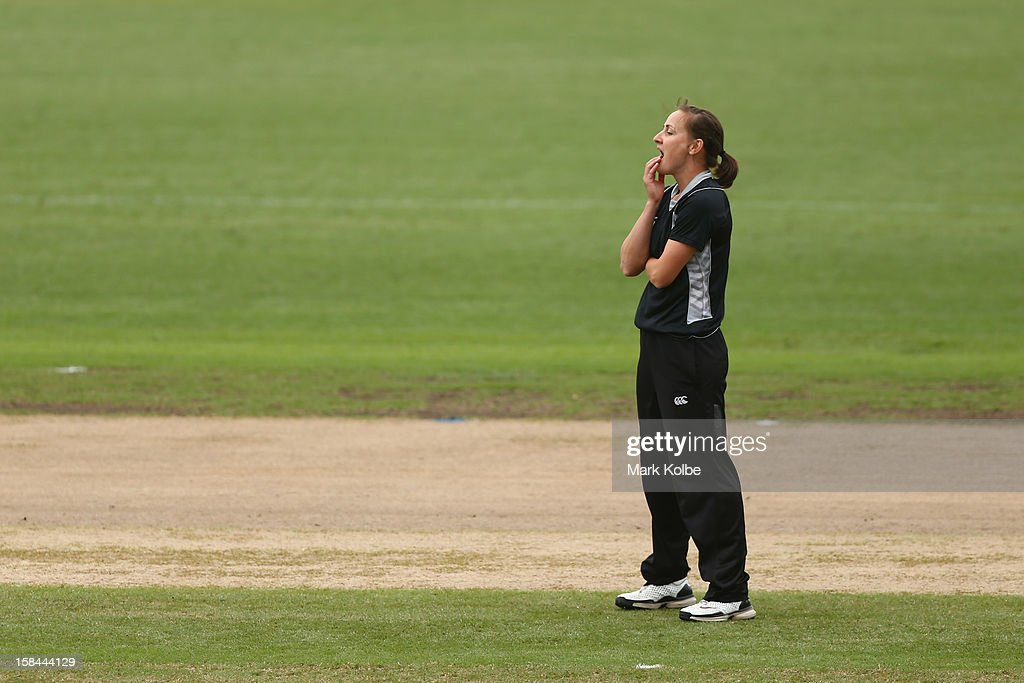 Rachel Candy of New Zealand shows her frustration during game three of the One Day International series between the Australian Southern Stars and New Zealand at North Sydney Oval on December 17, 2012 in Sydney, Australia.