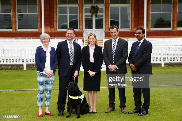 Rachel Carse Lord Holmes Tracey Crouch MP Tom Harrison and Curtis Juman pose for a photograph at Lord's Cricket Ground on July 20 2015 in London...