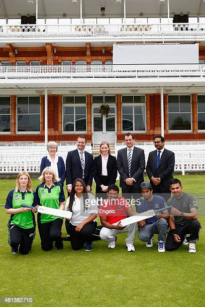 Rachel Carse Lord Holmes Tracey Crouch MP Tom Harrison Curtis Juman and young cricketers pose for a photograph at Lord's Cricket Ground on July 20...