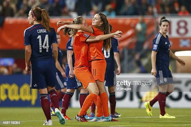Rachel Corsie of Scotland Anna Miedema of Holland Lieke Martens of Holland Jennifer Beattie of Scotland during the Worldcup playoff qualification...
