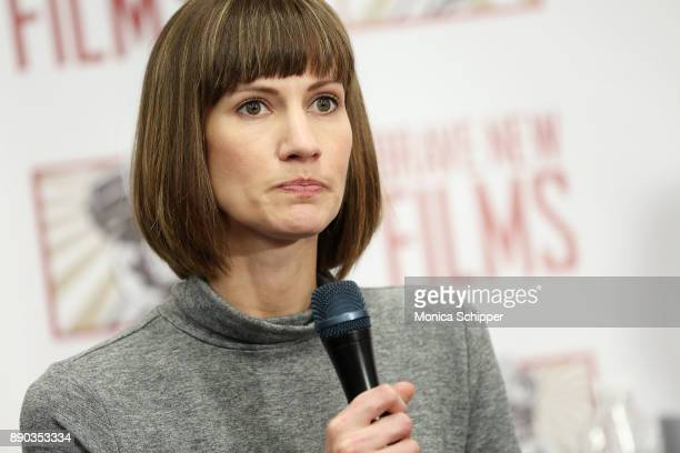 Rachel Crooks speaks during the press conference held by women accusing Trump of sexual harassment in NYC on December 11 2017 in New York City