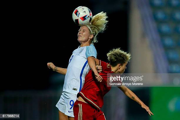 Rachel Daly of England wins the header before Amanda Sampedro of Spain during the International Friendly match between Spain and England Women...
