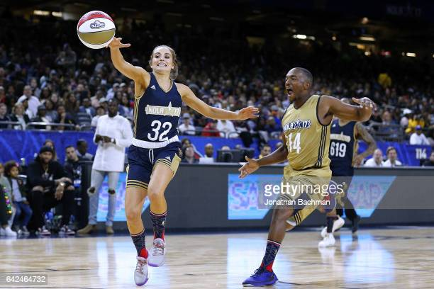 Rachel DeMita and Anthony Mackie go for a loose ball during the NBA AllStar Celebrity Game at the MercedesBenz Superdome on February 17 2017 in New...