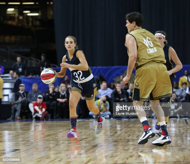 Rachel DeMita of the East team dribbles during the 2017 NBA AllStar Celebrity Game as part of 2017 AllStar Weekend at the MercedesBenz Super Dome on...